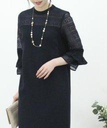 Eimy Peral/【ドレスライン】7分袖レース切り替えドレス/502831558
