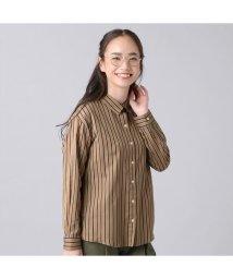 +nokto/長袖 ゆったりシャツ レギュラー衿 ベージュ系ストライプ/502849133