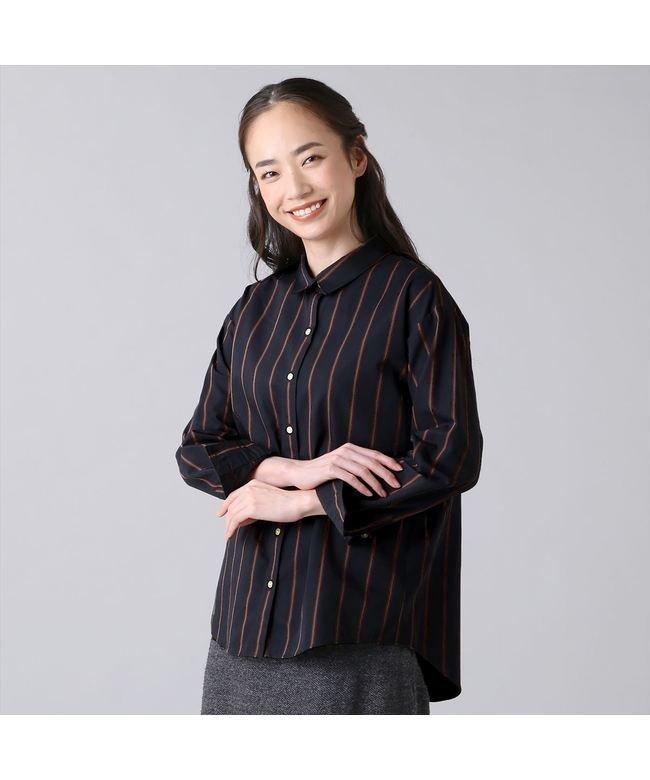 ウィメンズシャツ カジュアル長袖 ゆったりシャツ レギュラー衿 ネイビー