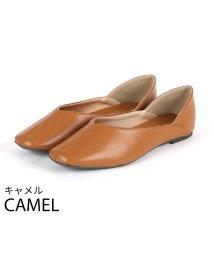 Vivian/スクエアトゥセンターステッチデザインVカットバブーシュ/502866214