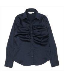 BRICKHOUSE/ウィメンズシャツ 長袖 パウダーサテンシャツ スキッパー衿 ネイビー系/502867219