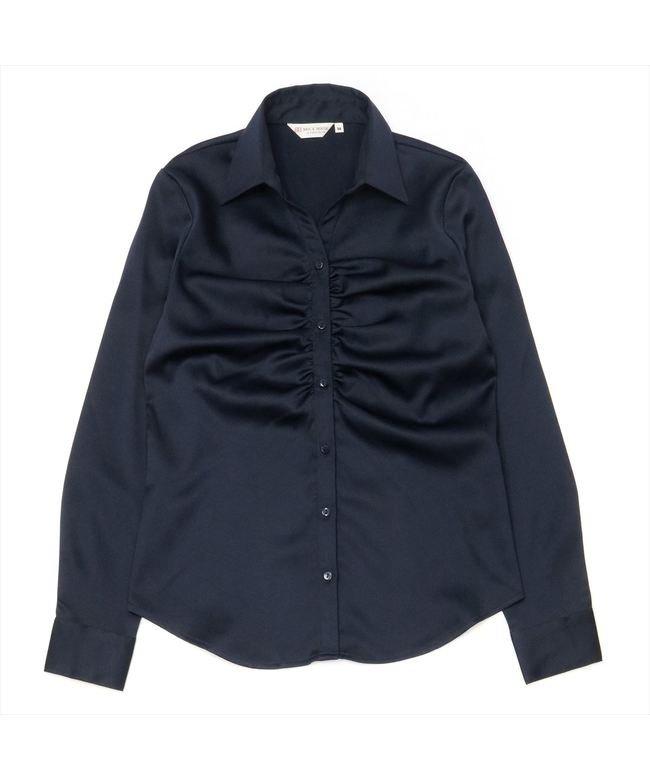 ウィメンズシャツ 長袖 パウダーサテンシャツ スキッパー衿 ネイビー系