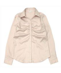 BRICKHOUSE/ウィメンズシャツ 長袖 パウダーサテンシャツ スキッパー衿 パールピンク系/502867220