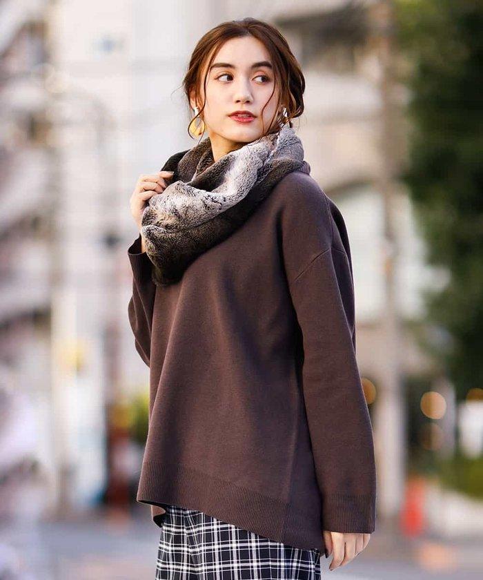【大きいサイズ】裾リブロングニット