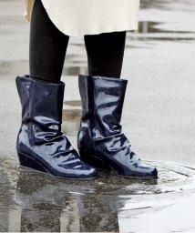 ALETTA/究極の防水レインブーツ 5cmヒール 2WAY レインシューズ  靴 雨 台風 ウェッジソール 痛くない 外反 甲高幅広 くしゅくしゅブーツ 黒 ブラック レデ/502854839