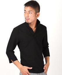 LUXSTYLE/イタリアンカラー七分袖ポロシャツ/イタリアンカラー ポロシャツ メンズ 7分袖 ジャガード BITTER ビター系/502871361