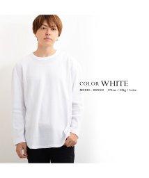 1111clothing/ロング丈 長袖 tシャツ ワッフル メンズ レディース ストリート系 トップス ロンT カットソー 韓国 ファッション 韓国ファッション サーマル インナー 白/502822263