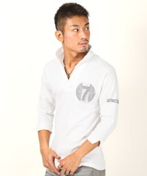 LUXSTYLE/イタリアンカラーラインストーン七分袖ポロシャツ/ポロシャツ メンズ イタリアンカラー 7分袖 BITTER ビター系/502873880