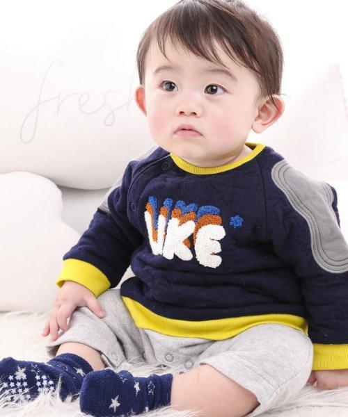 e-baby(イーベビー)/星キルト+裏毛サガラ刺繍カバーオール/183718053