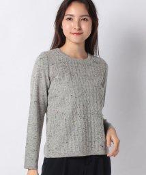 Leilian/【特別提供品】縄編み柄ノーカラーニット/502815393