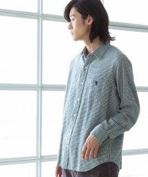 coen/ハウンドトゥースレギュラーカラーシャツ/502842920