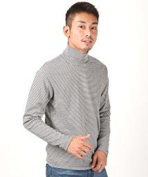LUXSTYLE/スムースボーダータートルネックロンT/ロンT メンズ 長袖 Tシャツ タートルネック ボーダー/502875054