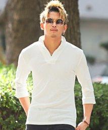LUXSTYLE/イタリアンカラー七分袖ポロシャツ/イタリアンカラー ポロシャツ メンズ 7分袖 ジャガード BITTER ビター系/502875059