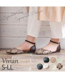 Vivian/スクエアトゥフラットセパレートパンプス/502557799
