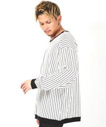 LUXSTYLE/ストライプビッグサイズカットソー/ロンT メンズ 長袖Tシャツ ビッグシルエット ストライプ/502883116