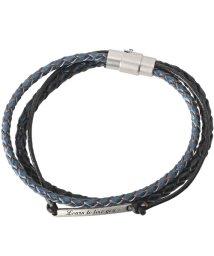 LUXSTYLE/プレートチャーム編み込みブレスレット/ブレスレット メンズ 編み込み PUレザー プレート 刻印/502883120