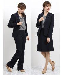 TAKA-Q/ウォッシャブル 1釦ジャケット+スカート+パンツ 紺シャドーチェック/502885267