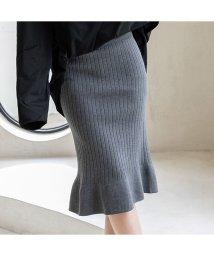 maison de LATIR/ 今季人気のリブニット素材の裾フリルスカート/502892560