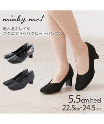 minky me!/走れるキレイめスクエアトゥリクルートパンプス/502907610