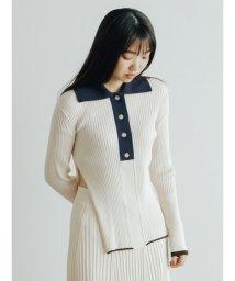 FURFUR/配色リブニットポロシャツ/502907640