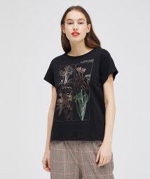 SISLEY/コットンプリント袖ダブル半袖Tシャツ・カットソー/502892058
