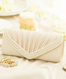 DRESS STAR/【結婚式・お呼ばれに使えるパーティーバッグ】プリーツラインパール&ストーンパーティークラッチバッグ/502907887