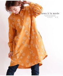 Sawa a la mode/アートな幾何学柄刺繍サークルのシャツチュニック/502914961
