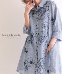 Sawa a la mode/巻き散る花たちロングシャツ/502917153
