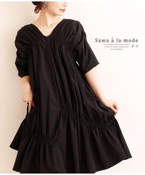 Sawa a la mode(サワアラモード)/シャーリングデザインが素敵なワンピース/mode-4583
