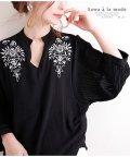 Sawa a la mode/刺繍柄スキッパー襟と袖コンシャスシャツ/502917199
