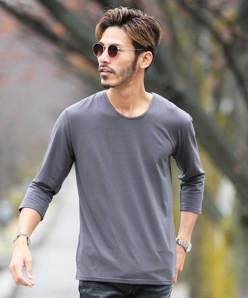 JIGGYS SHOP(ジギーズショップ)/Uネック無地7分袖Tシャツ / 七分袖 Tシャツ メンズ 無地 7分袖 uネック/204807
