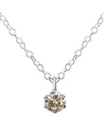JEWELRY SELECTION/Pt900 プラチナ6本爪 シャンパンカラー天然ダイヤモンド 0.09ct 一粒ネックレス SVチェーン/502917777