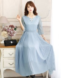 PourVous/ロングレースプリーツ ドレス/502907930