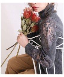 Sawa a la mode/刺繍レース袖のリブタートルニット/502925593