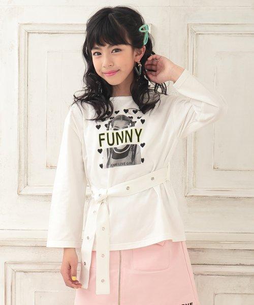 JENNI love(ジェニィラブ)/ベルト付きロング丈Tシャツ/02201216