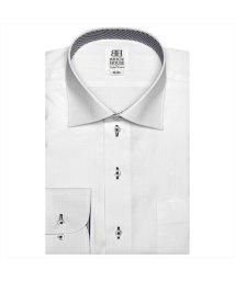 BRICKHOUSE/ワイシャツ長袖形態安定 ワイド 白×織柄(透け防止) スリム/502927722