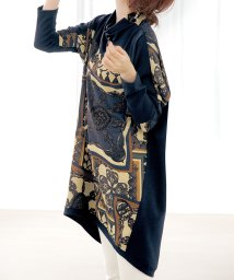 Ranan/異素材使いスカーフ柄チュニック/502680576