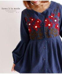 Sawa a la mode/花刺繍のぽわん袖ぺプラムトップス/502933263