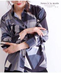 Sawa a la mode/幾何学模様のレトロシャツトップス/502933270