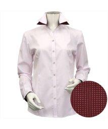 BRICKHOUSE/ウィメンズシャツ長袖形態安定 スキッパー ダブル衿  ピンク×織柄/502933857