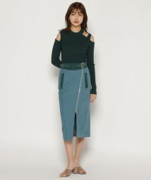 REDYAZEL/起毛バイカラージップアップタイトスカート/502888820