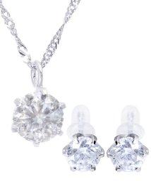 JEWELRY SELECTION/豪華2点セット!PT 天然ダイヤモンド 0.3ct 6本爪 プラチナネックレス&PT 天然ダイヤモンド 計0.6ct 6本爪 プラチナ スタッドピアス/502936540