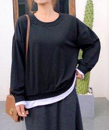 shoppinggo/重ね着風パーカーレディース Tシャツ カットソー ゆったり  レイヤード風 プルオーバー/502938947