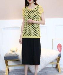 shoppinggo/Tシャツレディース 透かし彫り カットソー 大きいサイズ 透け感 メッシュ ニット カジュアル/502938986