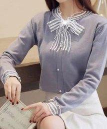 shoppinggo/ニットトップス レディース 長袖 レースリボン 丸首 セーター/502938992