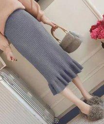 shoppinggo/ミモレ丈スカート ロング丈 タイトスカート裾フリル レディース ニット タイトスカート/502938996