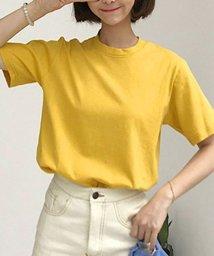 shoppinggo/Tシャツレディース カットソー 大きいサイズ 伸縮性  丸首 コットン 体型カバー/502939005
