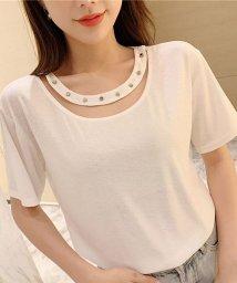 shoppinggo/Tシャツレディース カットソー 大きいサイズ 伸縮性  丸首?体型カバー/502939006