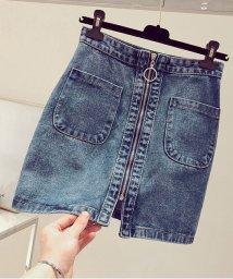 shoppinggo/デニムスカート ダメージ 台形スカート ミニスカート着痩せ シンプル ボトムス/502939014