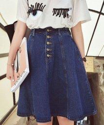 seiheishop/デニムスカート ボタン 台形スカート ミニスカート 着痩せ シンプル ボトムス/502940606